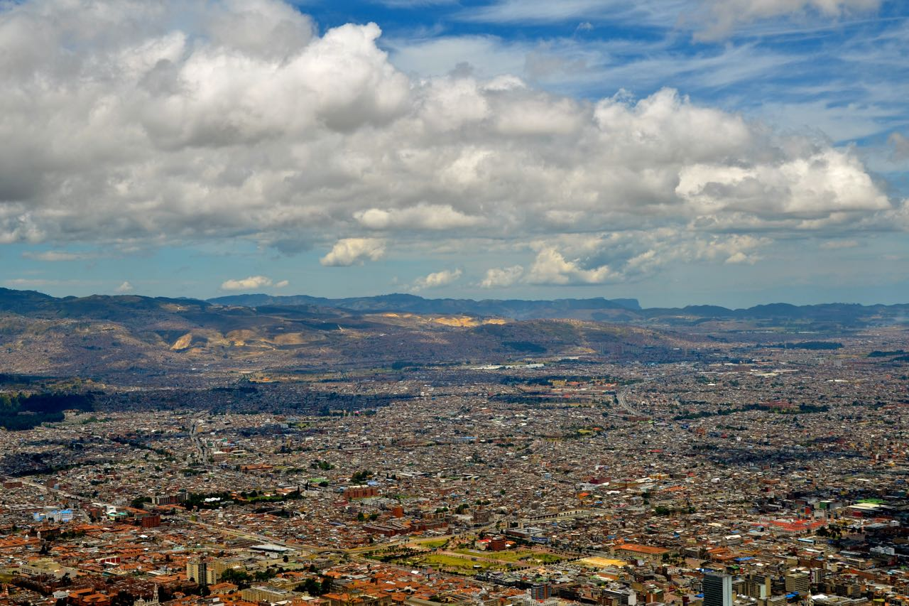bogota city from up a moiuntain